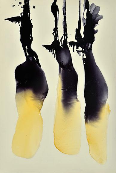 Drei Gleichen, 152 x 101 cm, Schellack, Klavierlack auf Acryl 2016