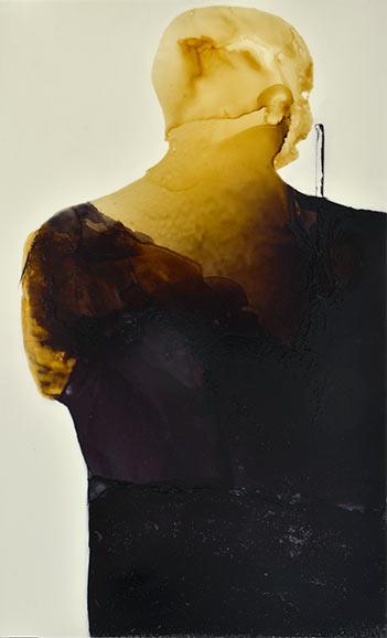 Der Krieger, 110 x 167 cm, Schellack, Klavierlack auf Acryl, 2016