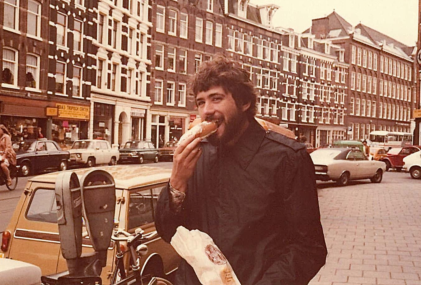 John Wagner, 1978, eating goodies in Amsterdam