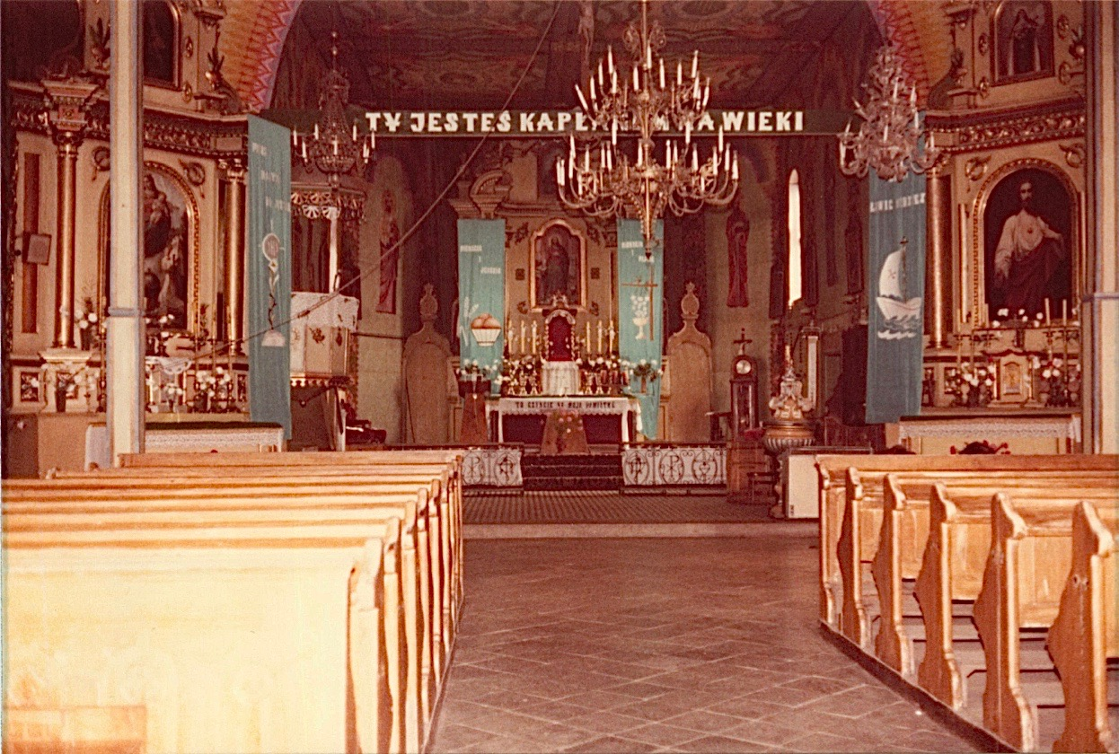 Inside of old church where Paul Bogden was baptized-he left Poland in ~1914 for the USA. Cyndi said this church is no longer there & was torn down and replaced.