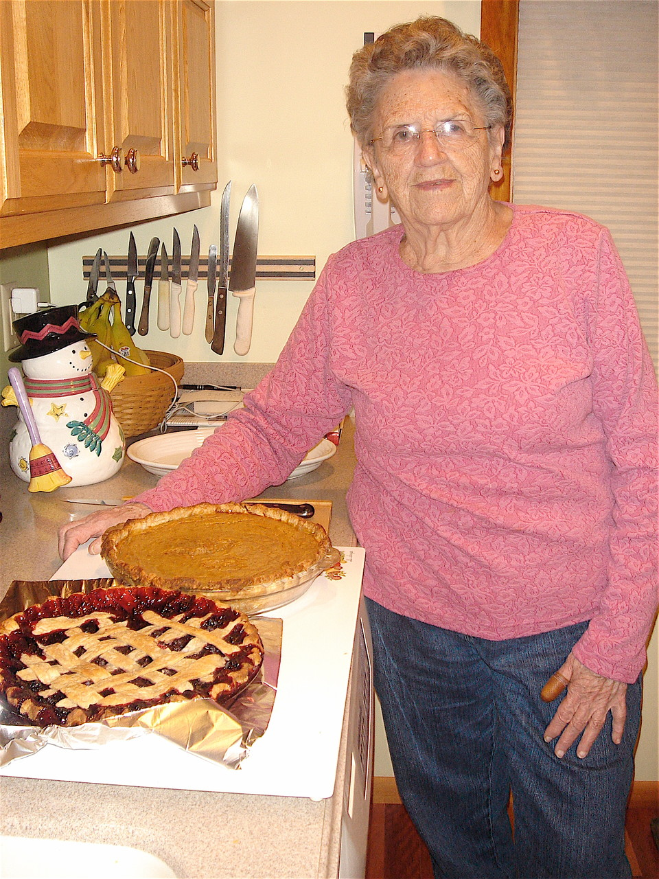 Xmas, 2010  Mary Lou and her pies!
