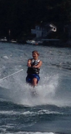 Jack slalom skiing on Skaneateles Lake, August, 2014