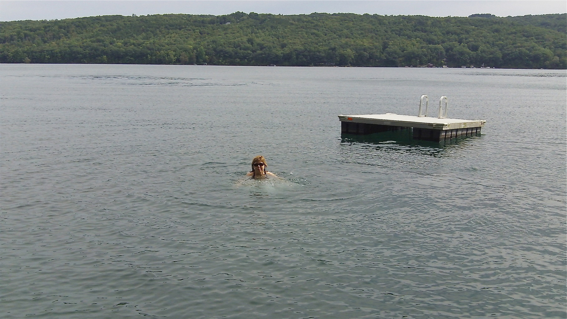 Barbara takes a refreshing dip in the lake!