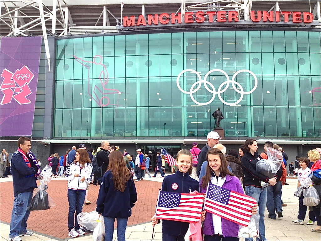 Kate & Ellie outside of Manchester Stadium 7-31-12