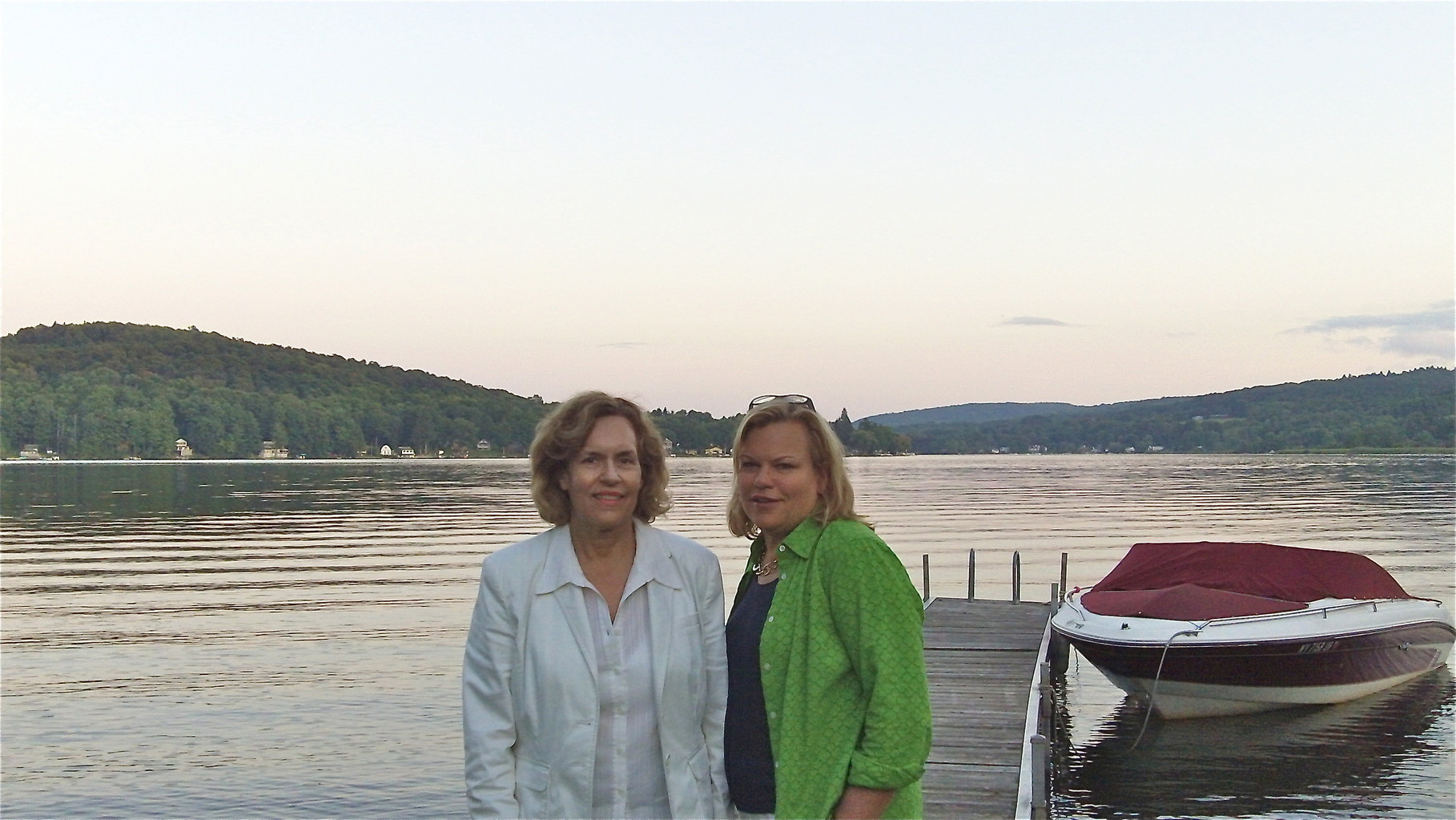 Lorraine & Celeste at Tuscarora Lake, Blue Canoe for dinner