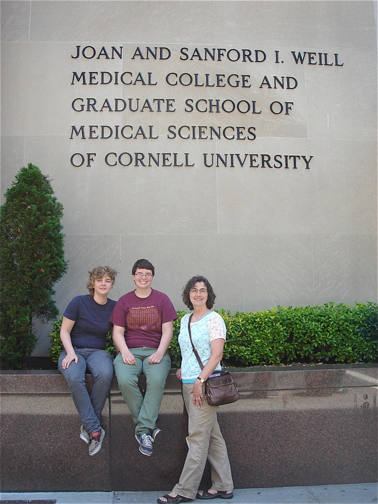 Kathleen, Emilea & Ann Ackerman in front of Weill Cornell Medical College, NYC  6-19-2013