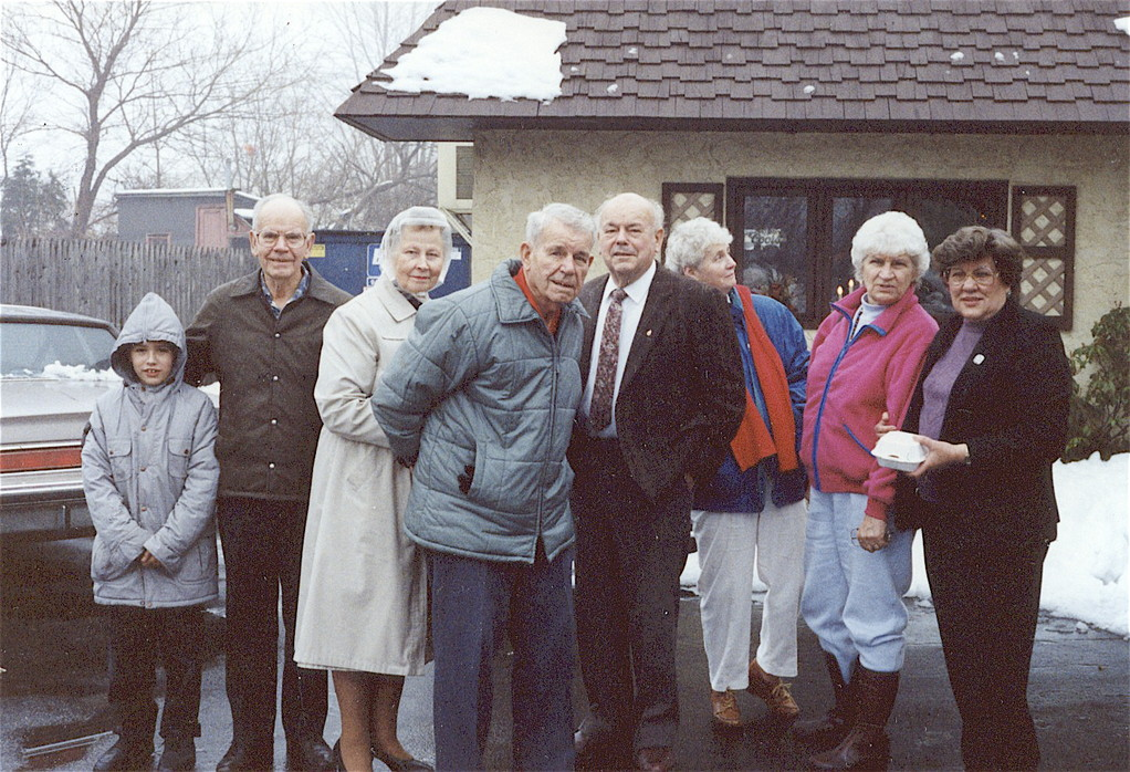 about 1990  Greg (Lorraine's son), Tony, Helen, Bud, Al, Eleanor, Detta, & Eleanor (Al's wife)  at Marchetti's Rest.
