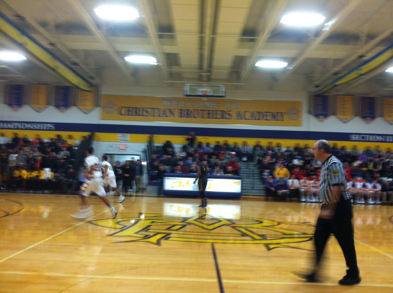 CBA Basketball game, Dec. 30, Chris Bednarski, ref, in front