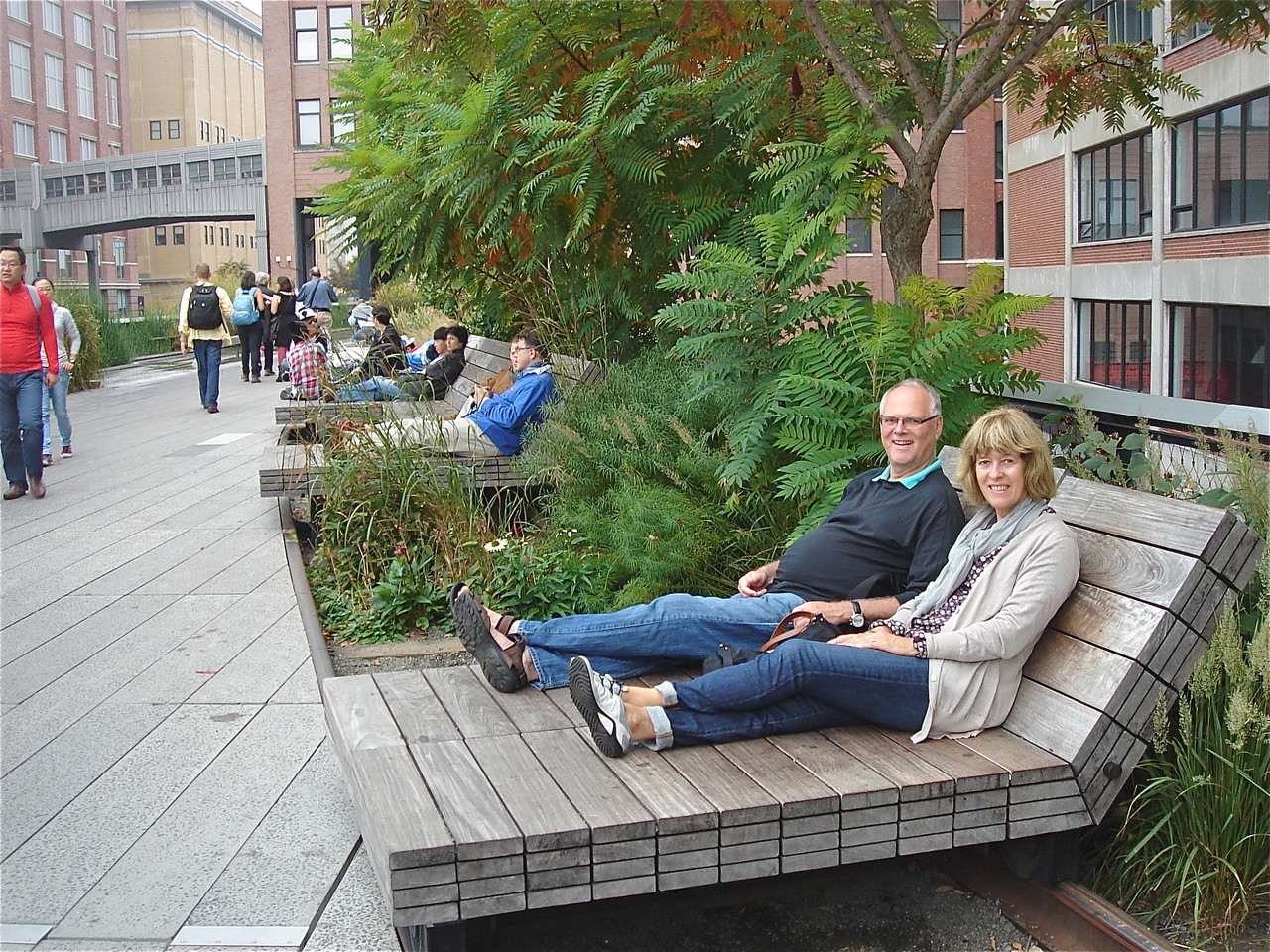 Bernd and Nancy relax along the High Line, NYC