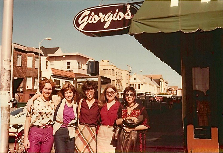 ~1981 Lorraine Gudas, Shirley Clift, Barbara Levinson, Mary Ann Wormsted, & Ingrid Caras at Georgio's, SF