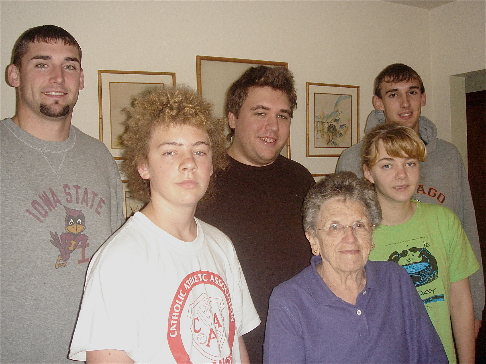 Jason, Ben, Greg, Mary Lou, Kathleen, & Nick, 2008 -the grandchildren of Mary Lou
