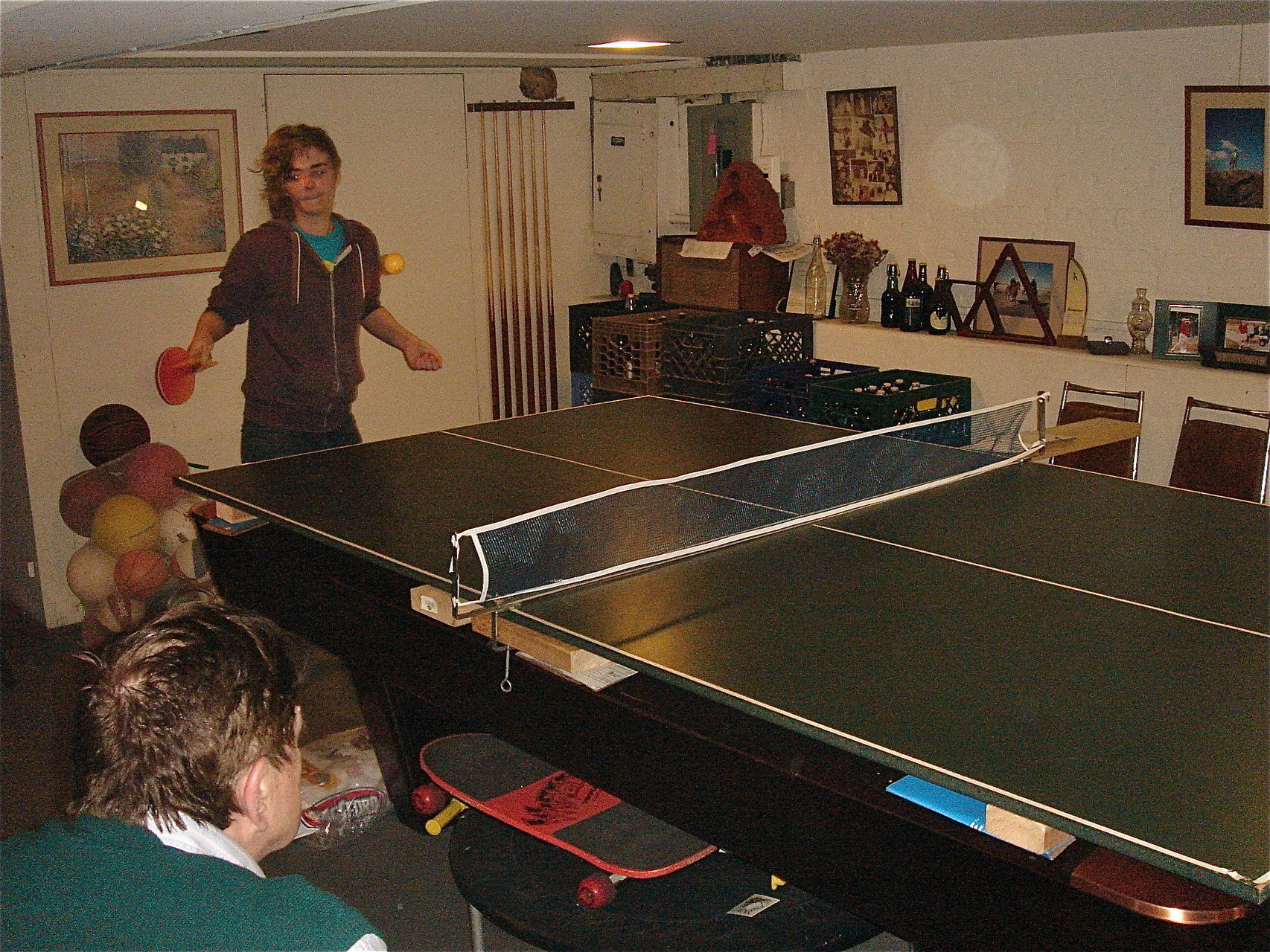 Kathleen Ackerman, Greg's cousin, shows her ping-pong moves...