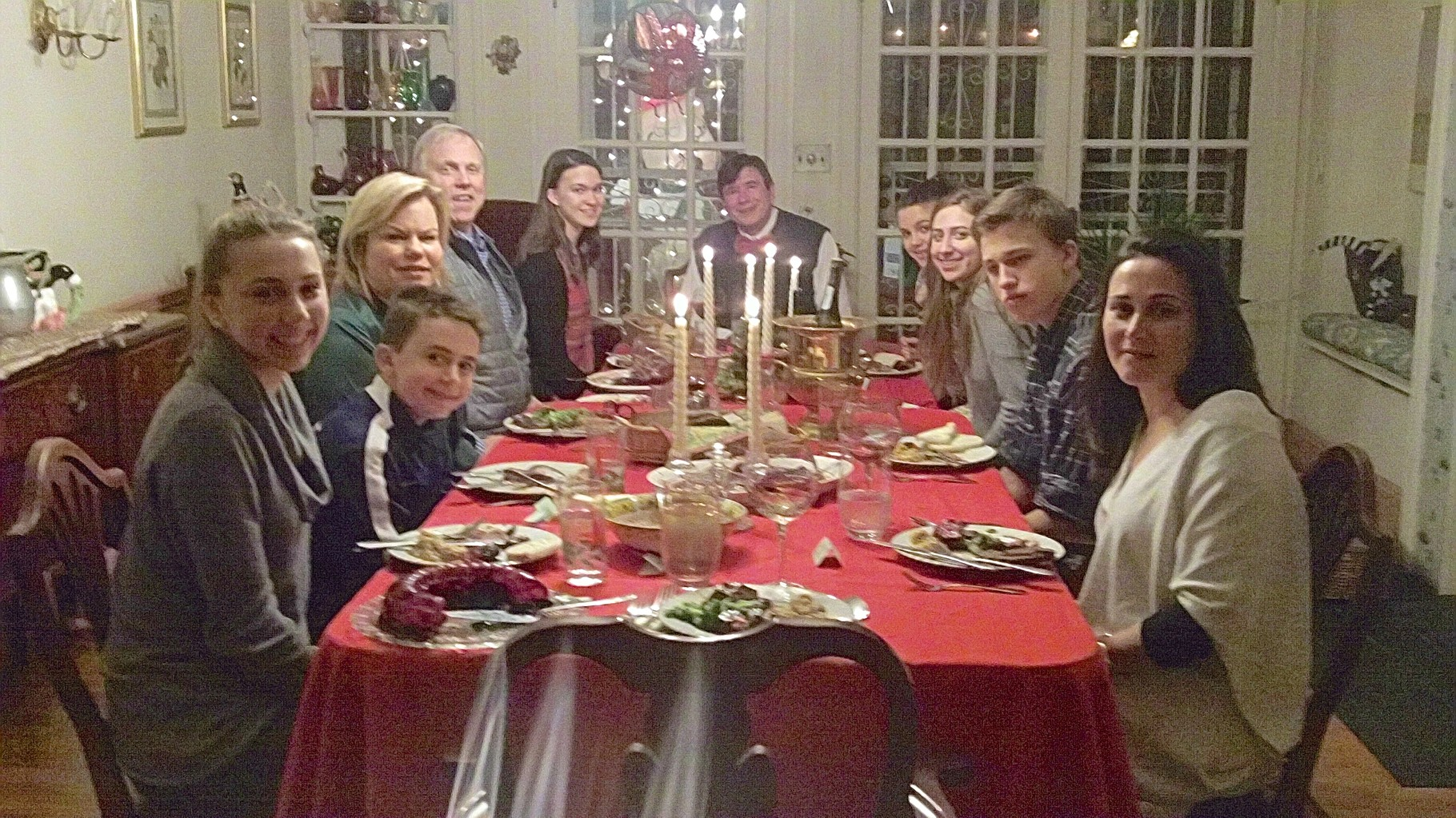 Gabby, Stuart III, Celeste, Stuart Jr., Ellie, John, Kate, Emma, Jack, Allie at dinner, NYC