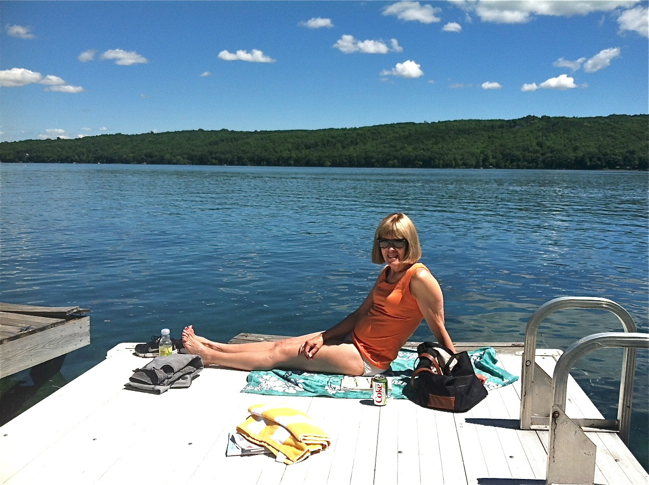 Nancy Hynes & Lorraine celebrate the Summer Solstice at Skaneateles Lake, June 21, 2014