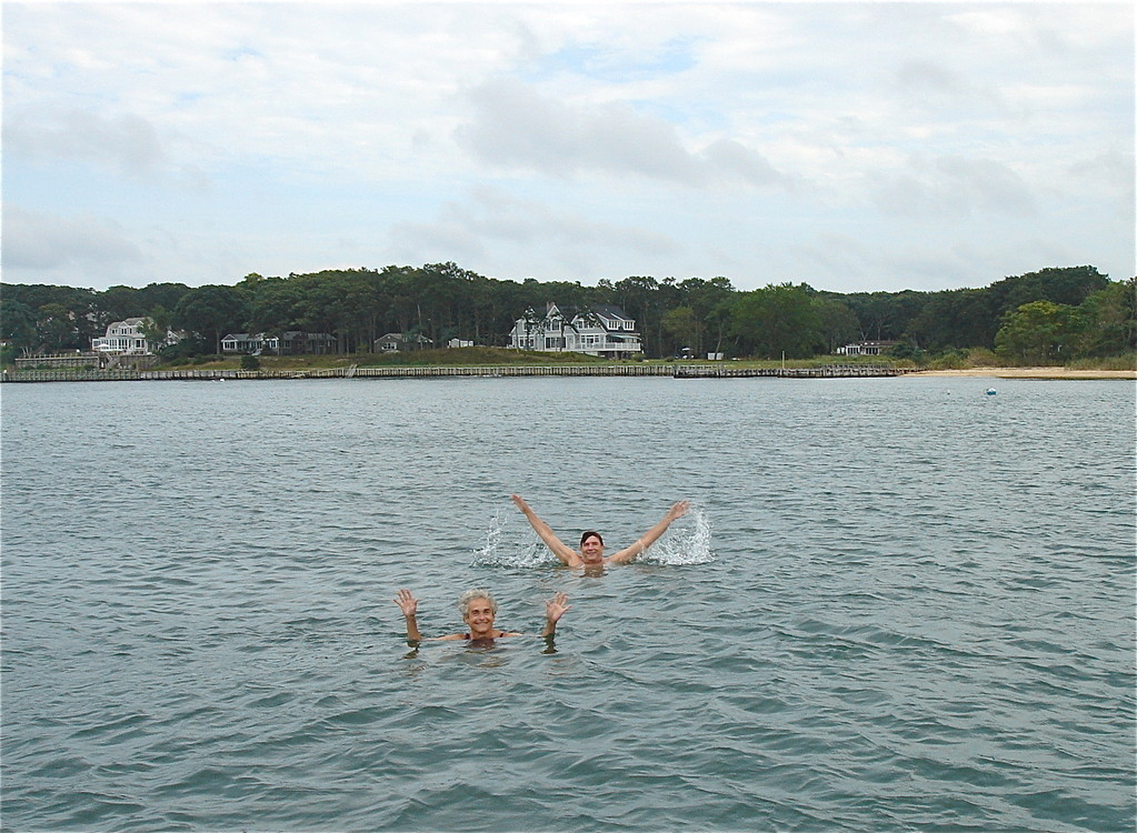 Kathy & John swim near Sag Harbor