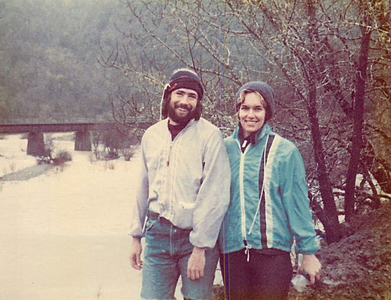 John Wagner & Lorraine Gudas, Eel River rafting, March 1980