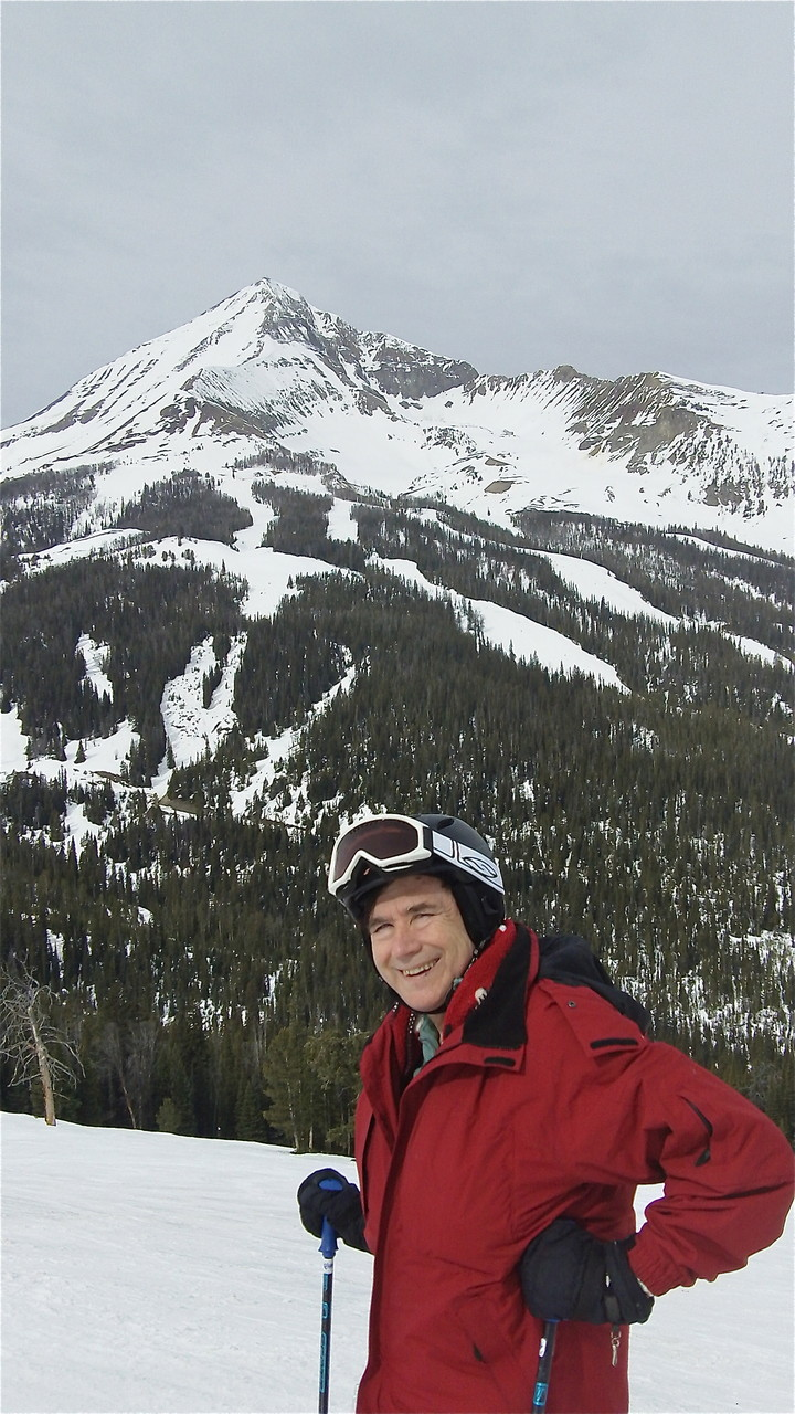 John in front of Lone Peak, Big Sky
