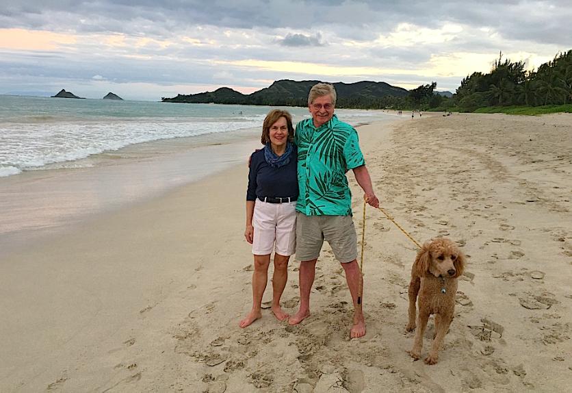 Lorraine& Paul near his home near Honolulu, with Paul's dog Milo...