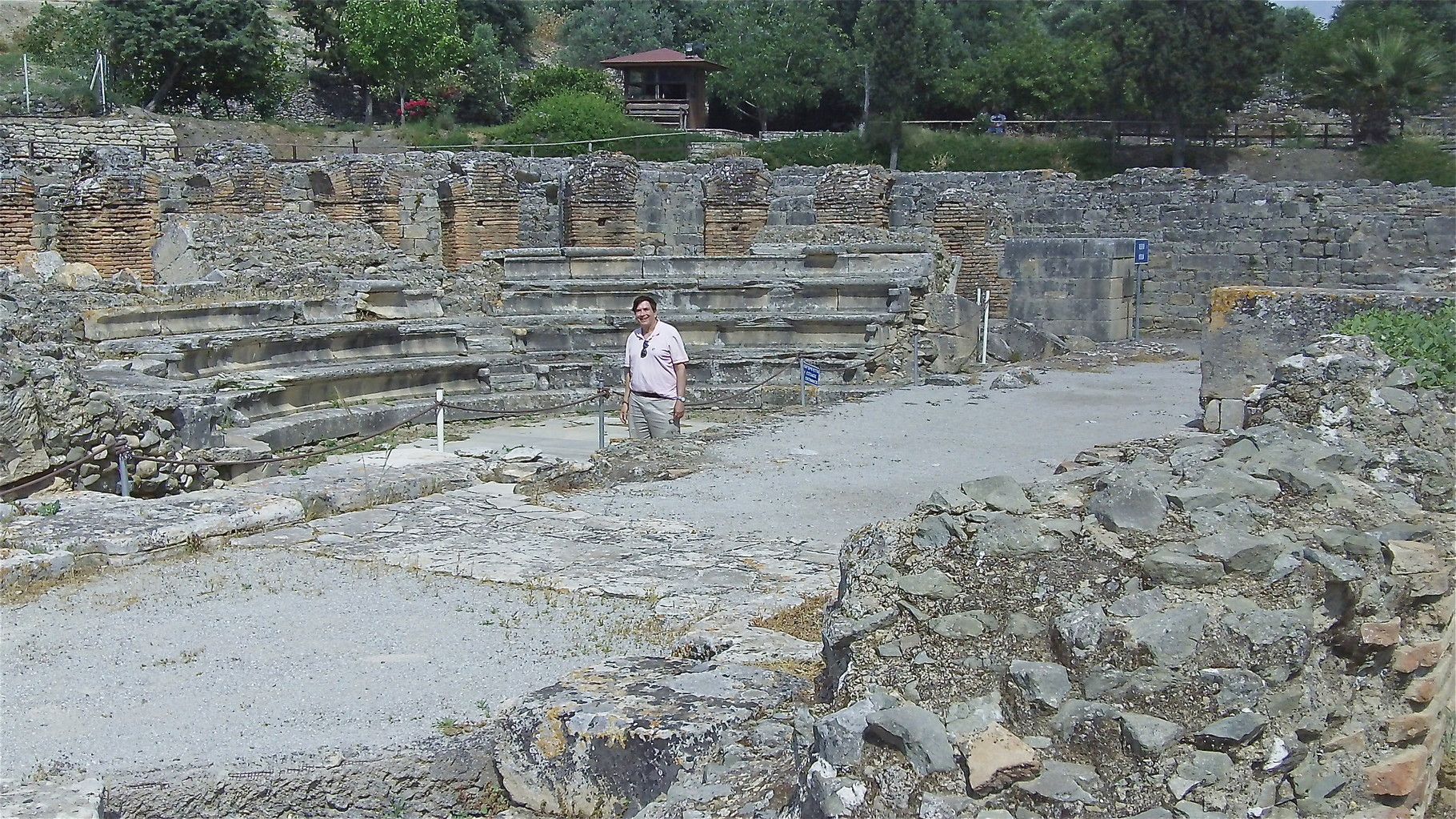 Roman ruins at Gortyna, Crete, John stands in the Odeon built by Roman emperor Trajan