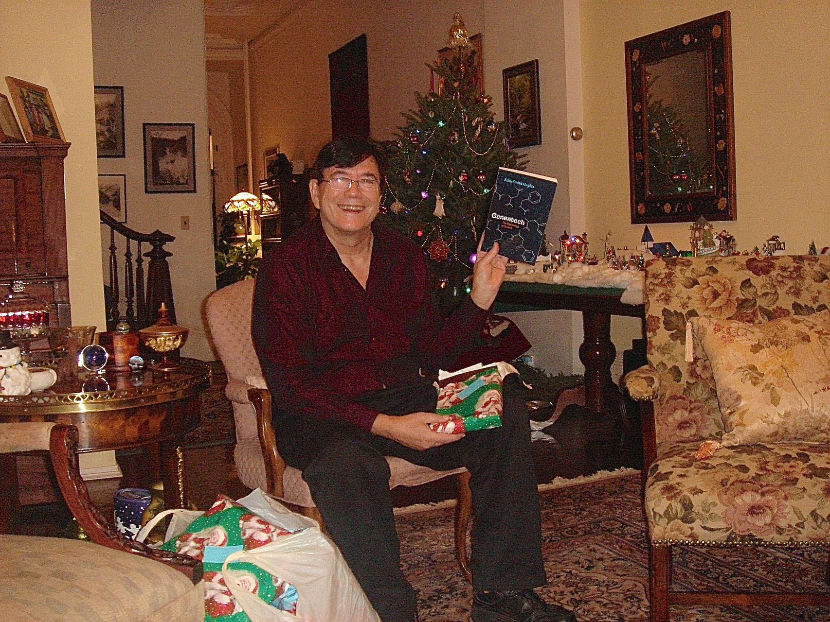John opening gifts on Xmas Day in NYC