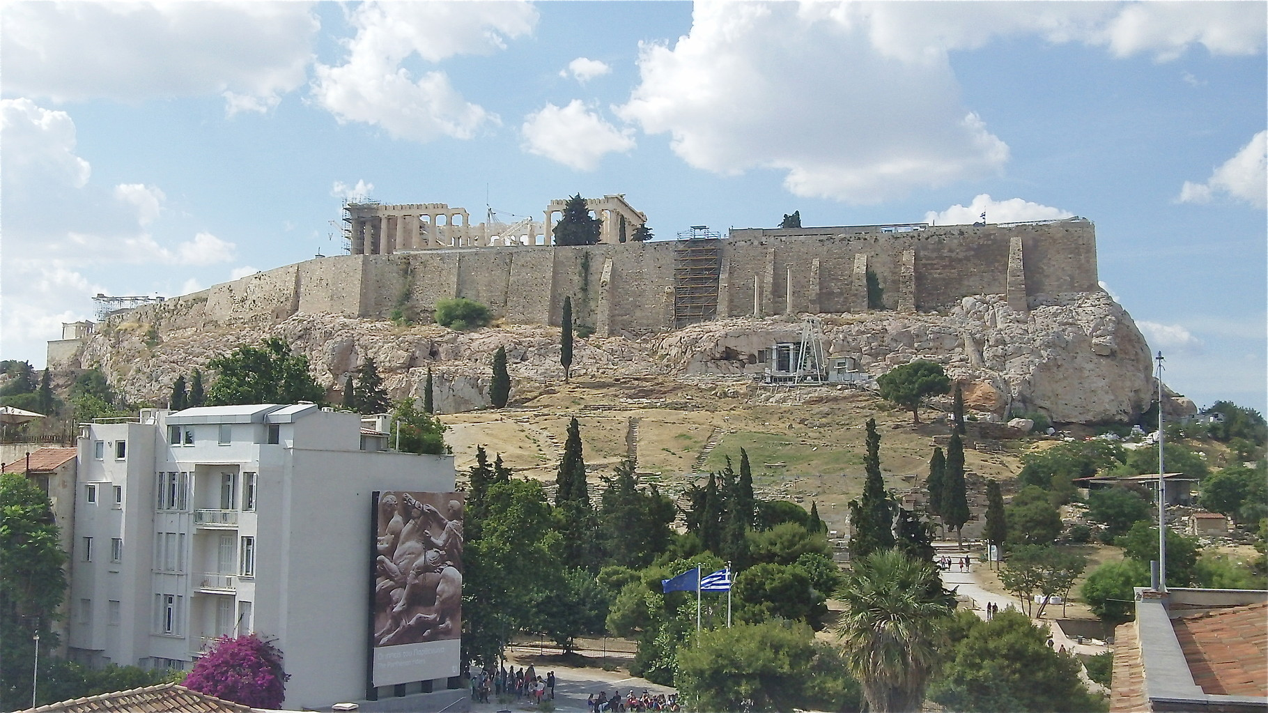 View of the Acropolis from the museum below