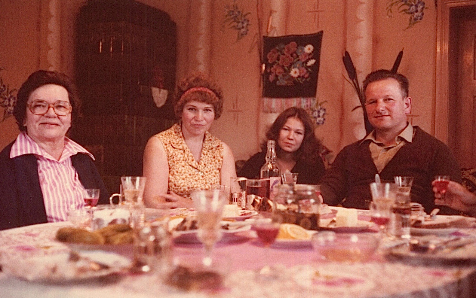 Mayme Bogden Baldyga, Jadga (Anthony's wife), Irena (Anthony's daughter), & Anthony in their home, 1978