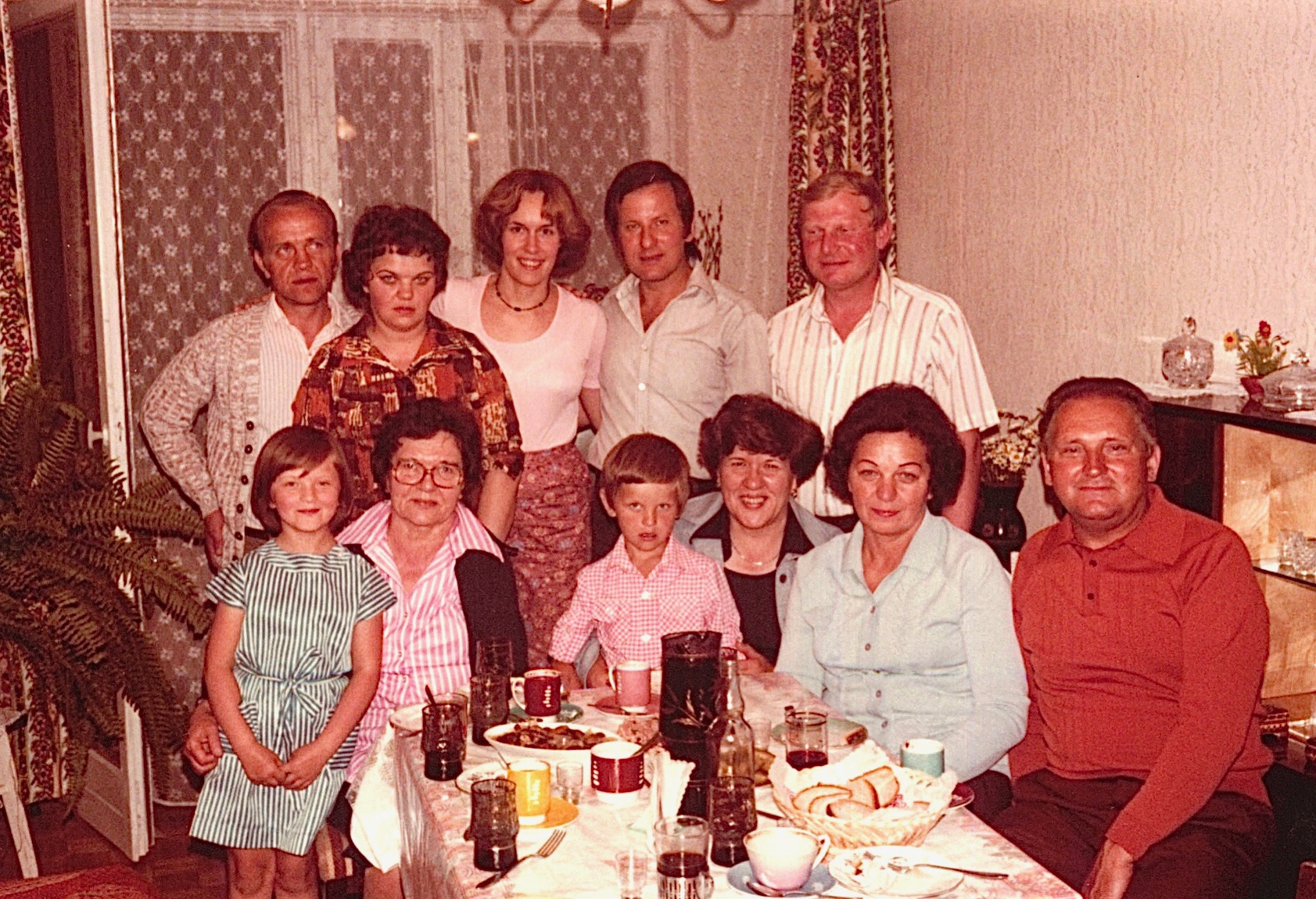 Inside Stanley Bogdan's apartment in Mielec   Back: Neighbor, Halina (Stanley's wife), Lorraine Gudas, Stanley Bogden (Walter's son), Genek   front: Margaret, Stanley's daughter, Mayme, Adam, Stanely's son, Eleanor, and Halina's (Stanley's wife) parents