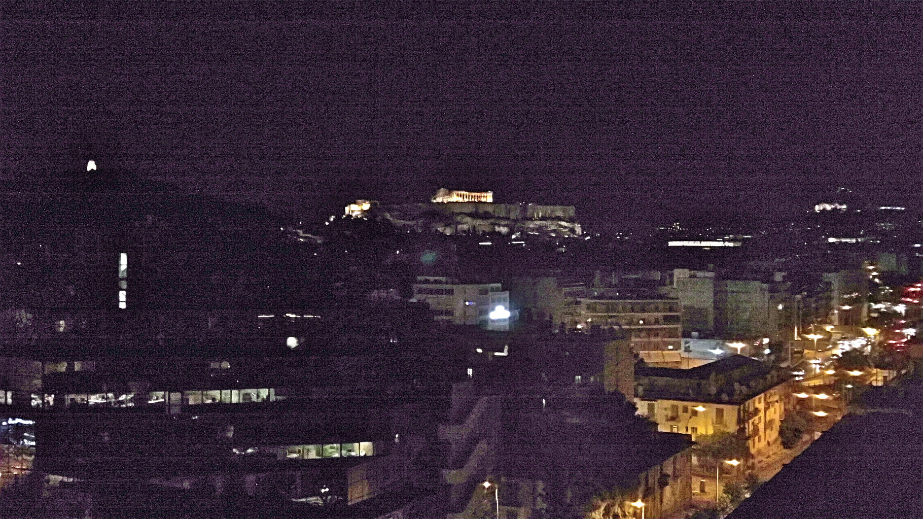 view of the Acropolis at night from our hotel, Athens