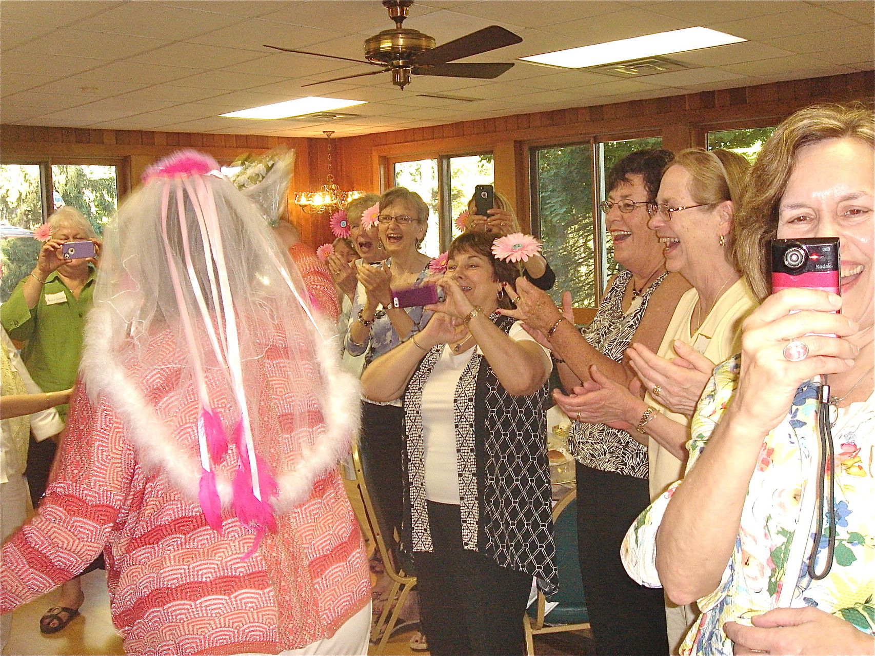 "Mary Jane, Marie, Ellen, JoAnne, Rita, Cathy & Lorrie enjoy the ""bride"""