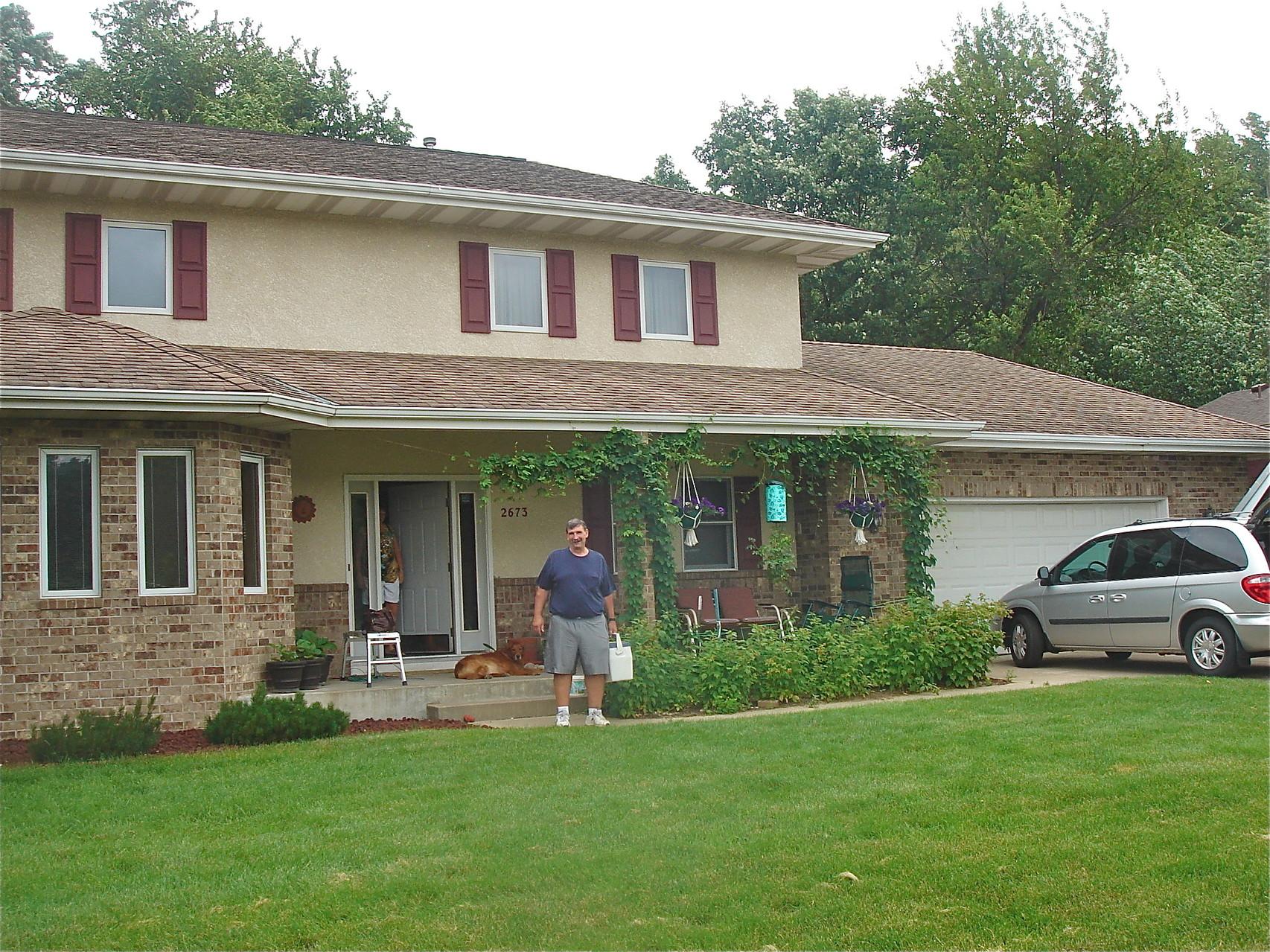 Ann & John Ackerman's home, Arden Ave. Mounds View, Minn., Paul in front