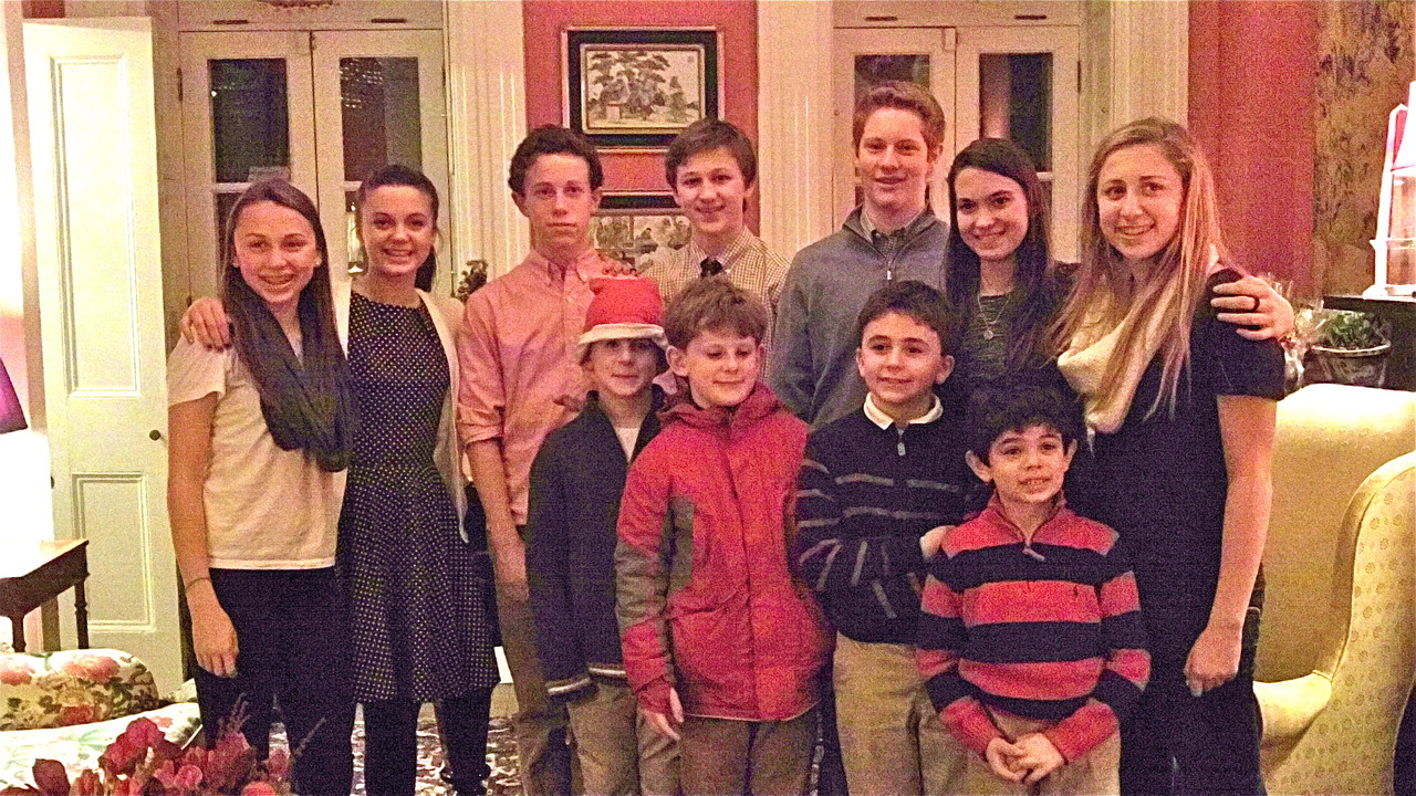 Cousins: Gabby, Kate, Liam, Sean & Connor, Jack behind them, Noah, Stuey III, Ellie, Sam, & Emma Kagel  Dec. 20, 2013