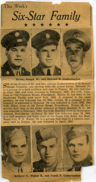 The Gudeczauskas (Gudas) brothers, World War II-6 sons in the war
