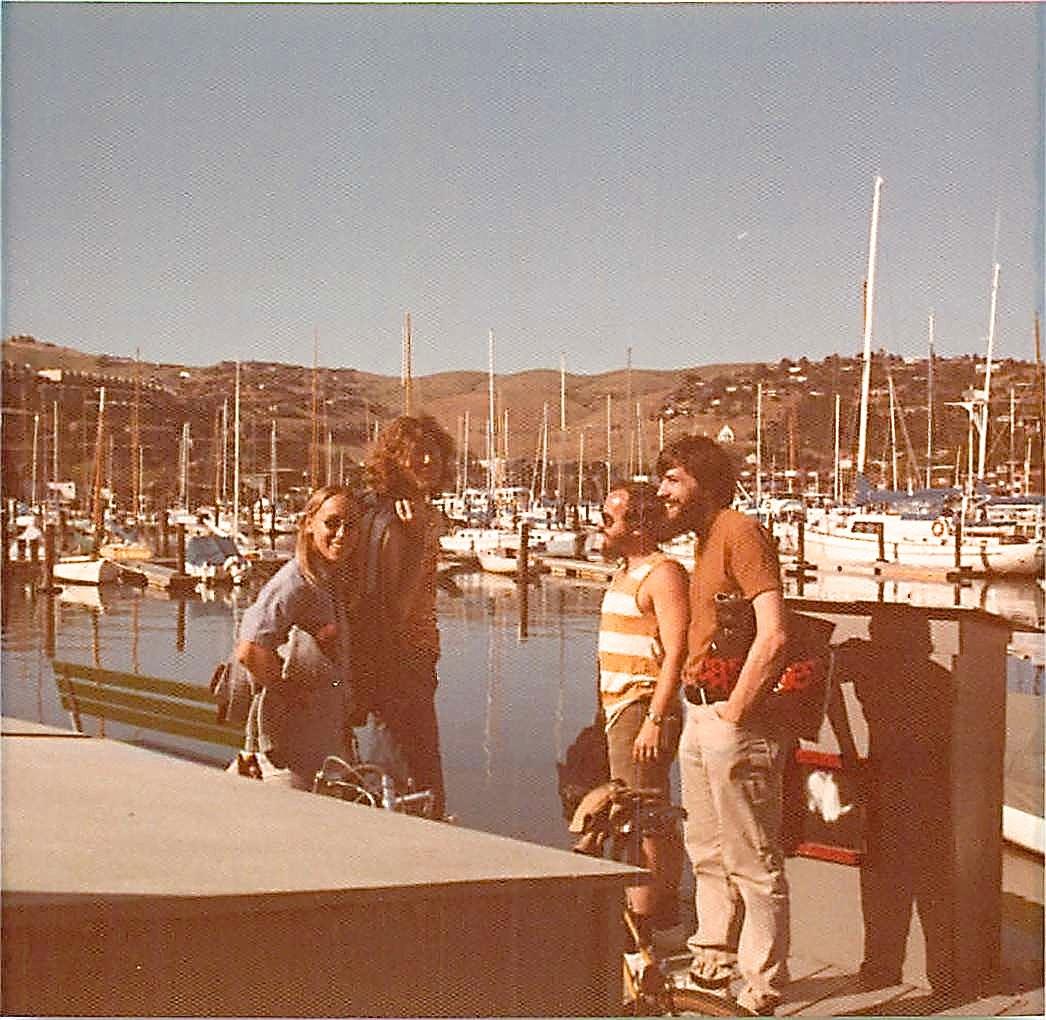 Luann, Ted Fickel, Rod Kellems, John Wagner, biking, Sausalito, CA 1975