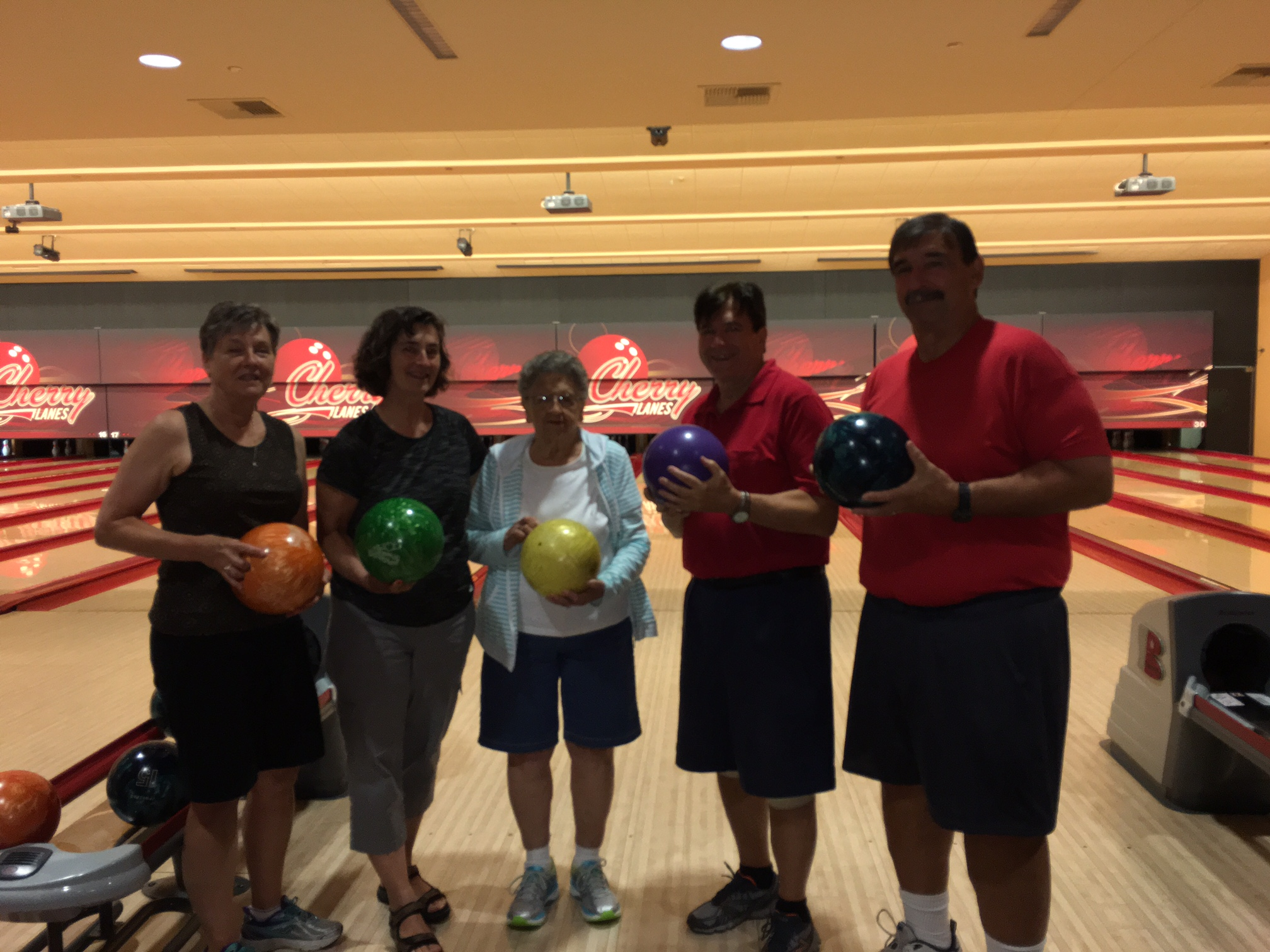 Bowling at Cherry Lanes:  Cindy Wagner, Ann Ackerman. Mary Lou Wagner, John Wagner, and Paul Wagner