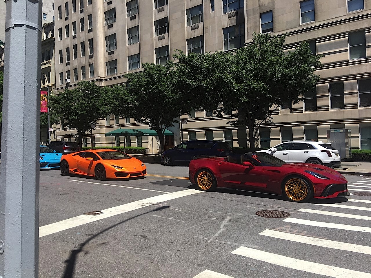 Cool race cars going down 5th Ave, Manhattan, May 31, 2020