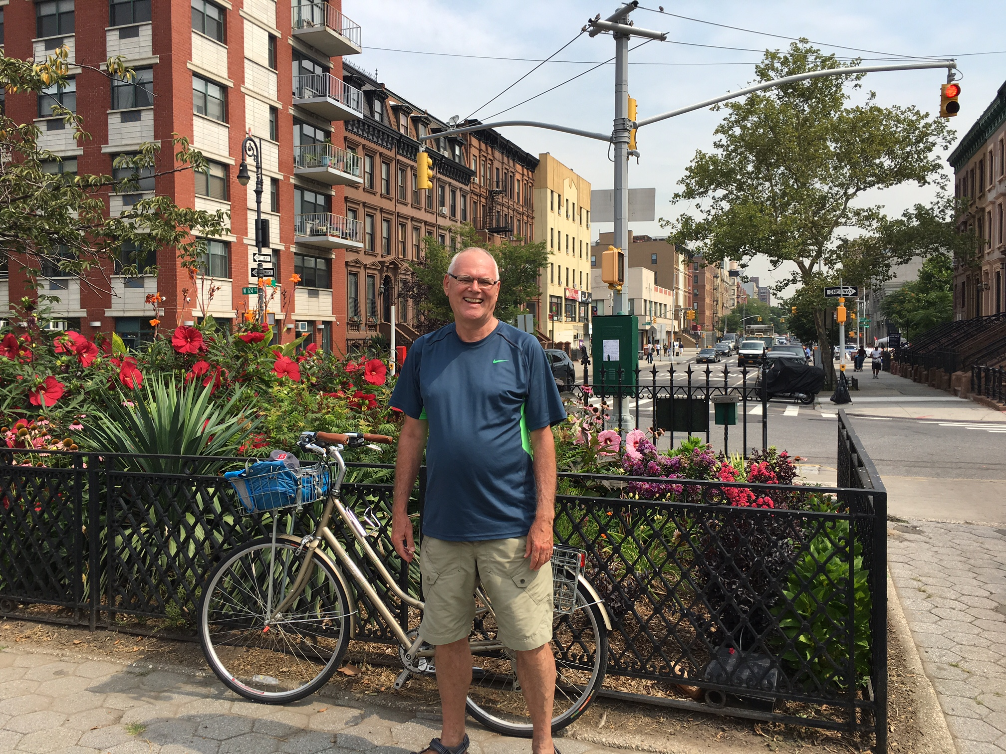 Bernd on a bicycle tour through Harlem  8-2-17