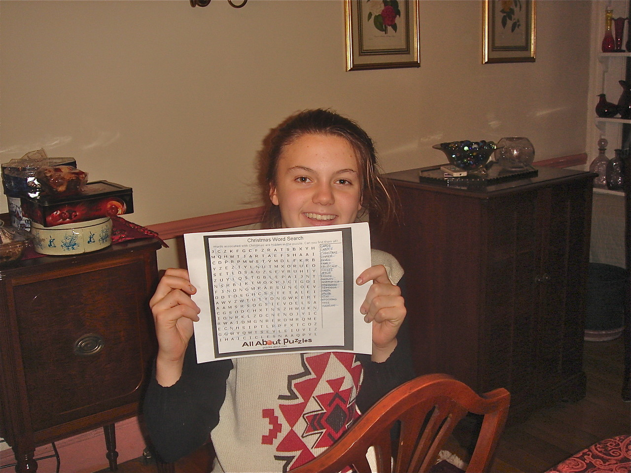 Kate wins the dinner game, Christmas Word Search!! Dec. 23, 2013