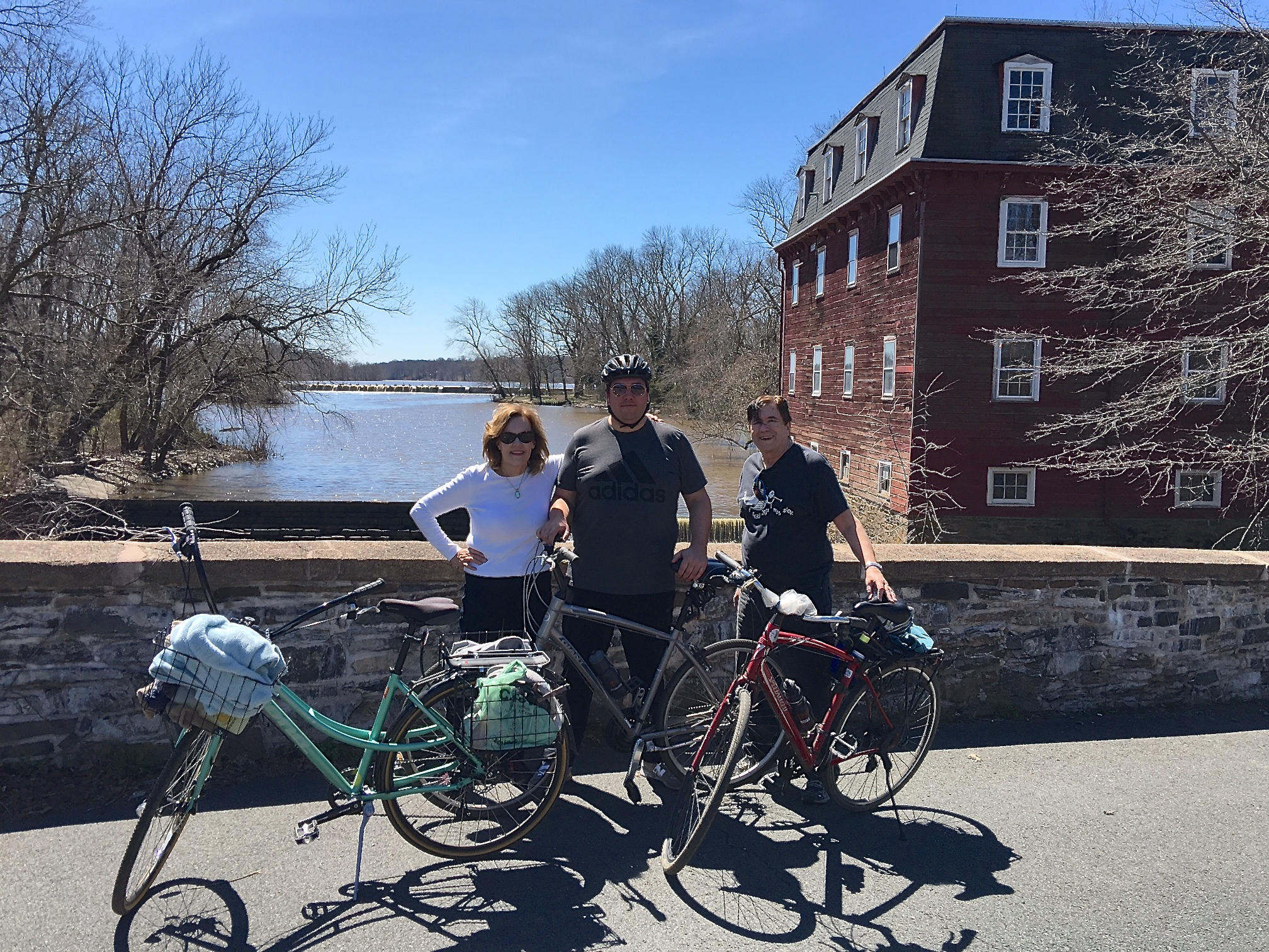 Lorraine, Greg & John biking, Carnegie Lake, Princeton NJ  spring, 2017