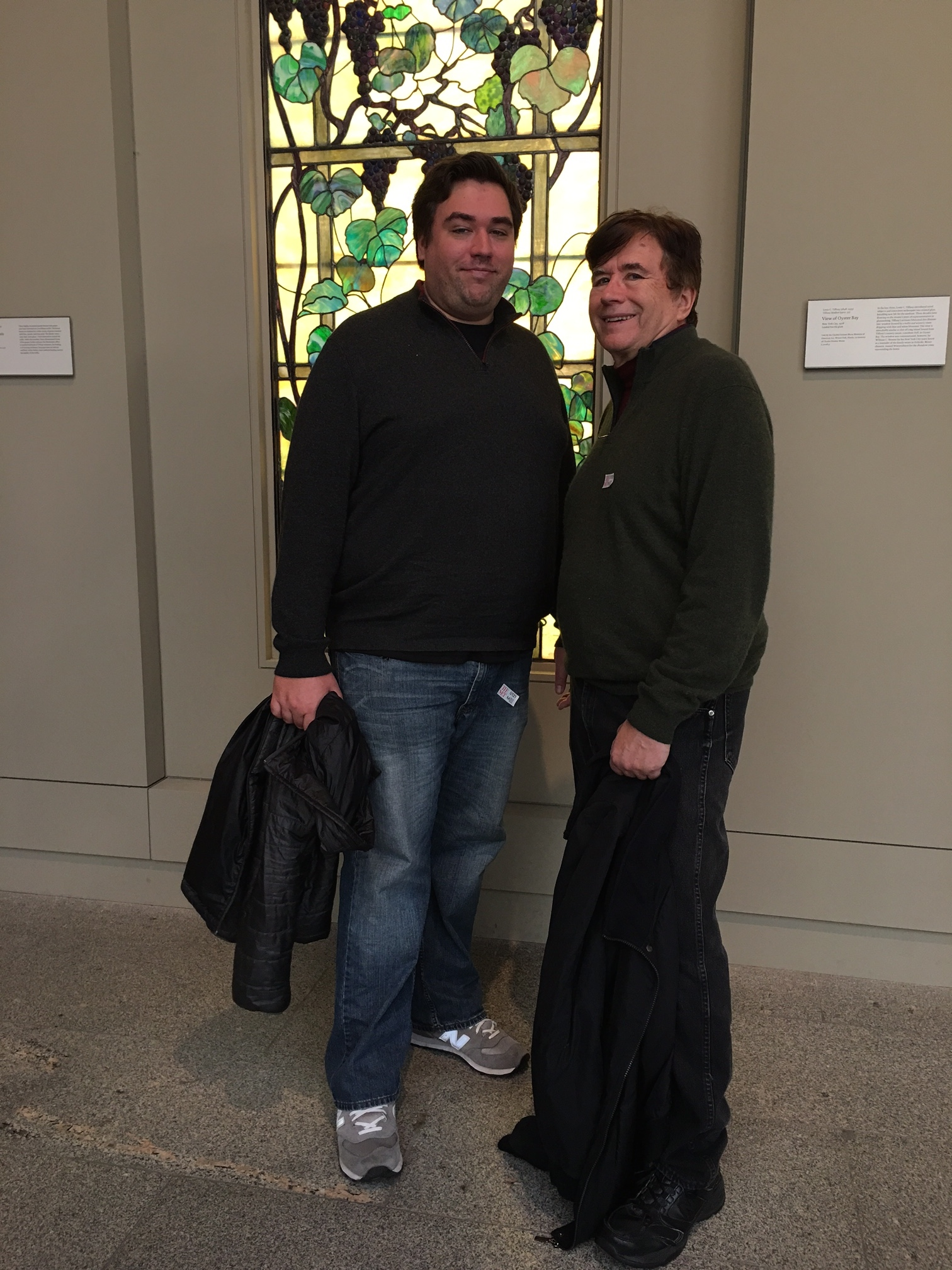 Greg & John in their Xmas cashmere sweaters at the Met, Jan. 2018