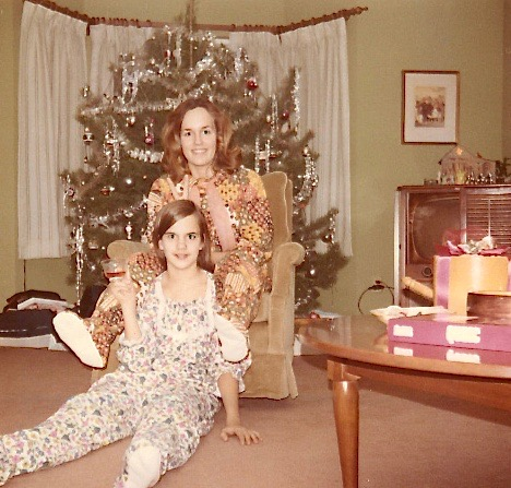 Celeste & Lorraine with new pjs, Xmas 1970