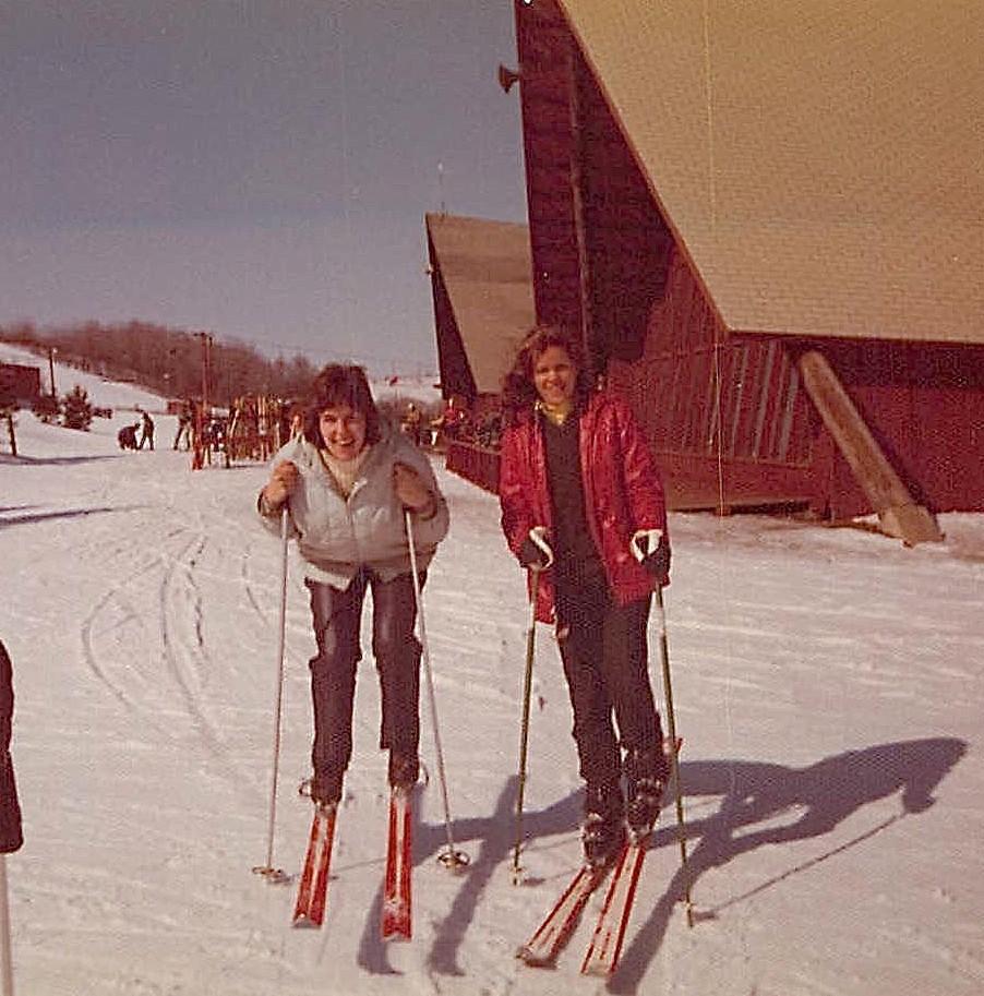 Lorraine & Celeste, 1974-5 Skiing at Greek Peak, NY