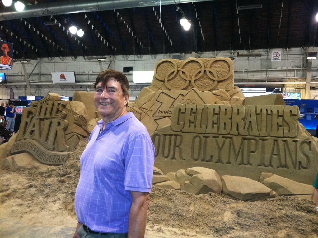John with sand sculpture