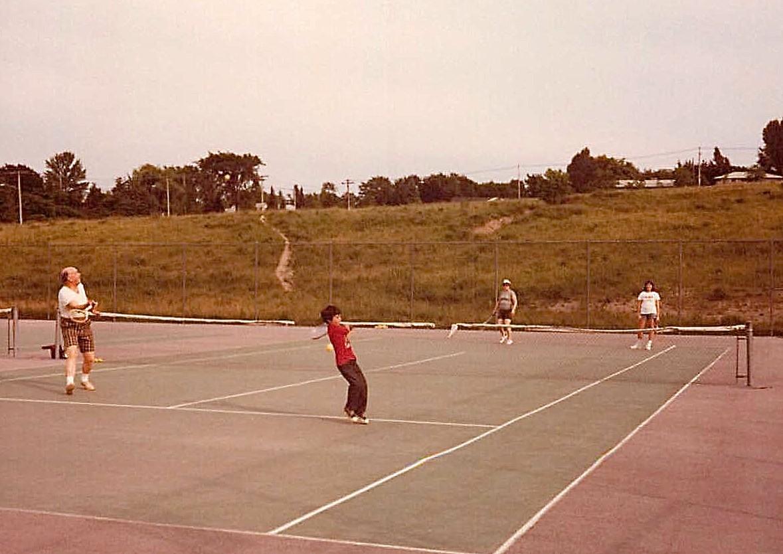 Al & Wayne play Eleanor & Celeste in tennis, summer, 1977