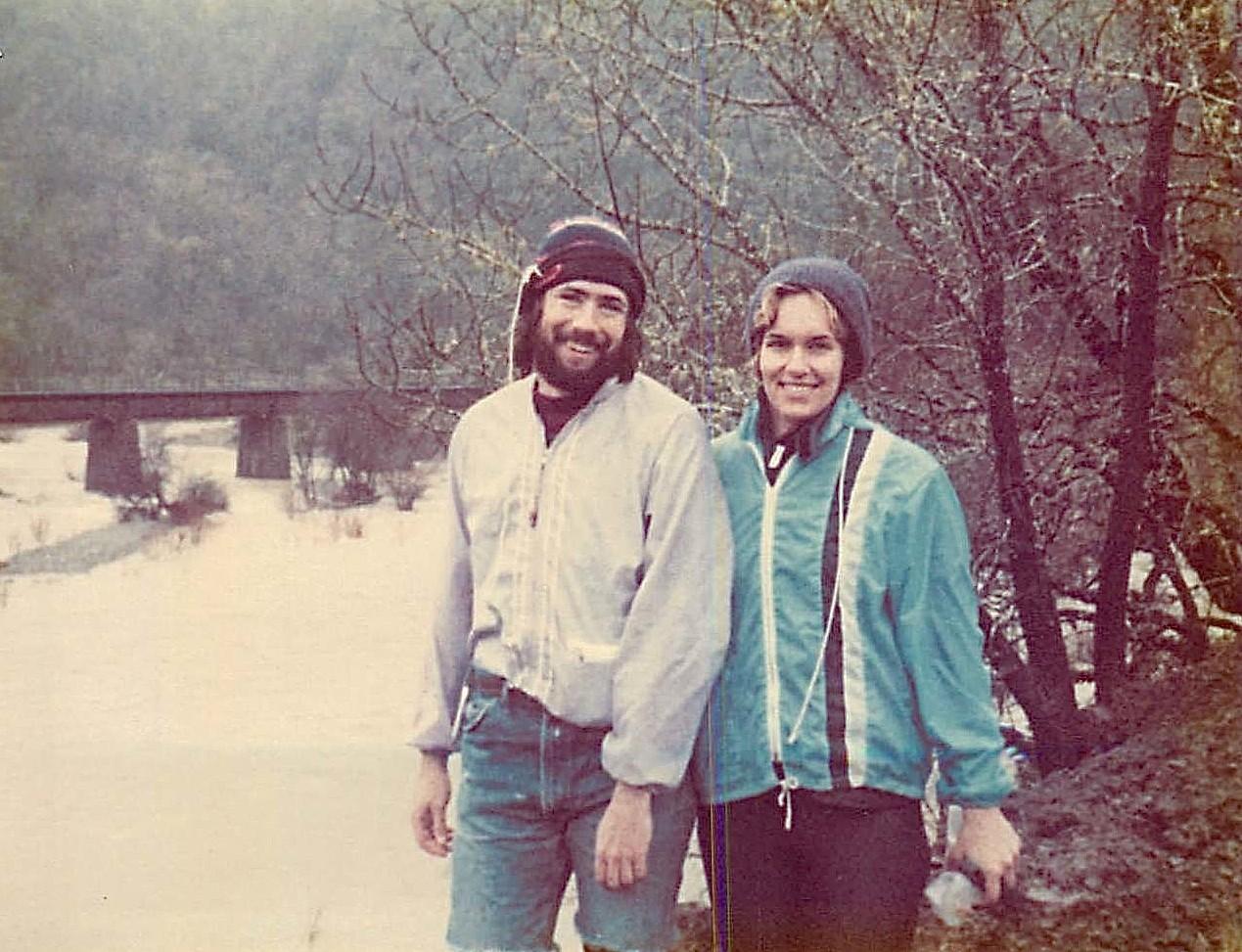 John Wagner, Lorraine Gudas Eel River rafting, spring 1980