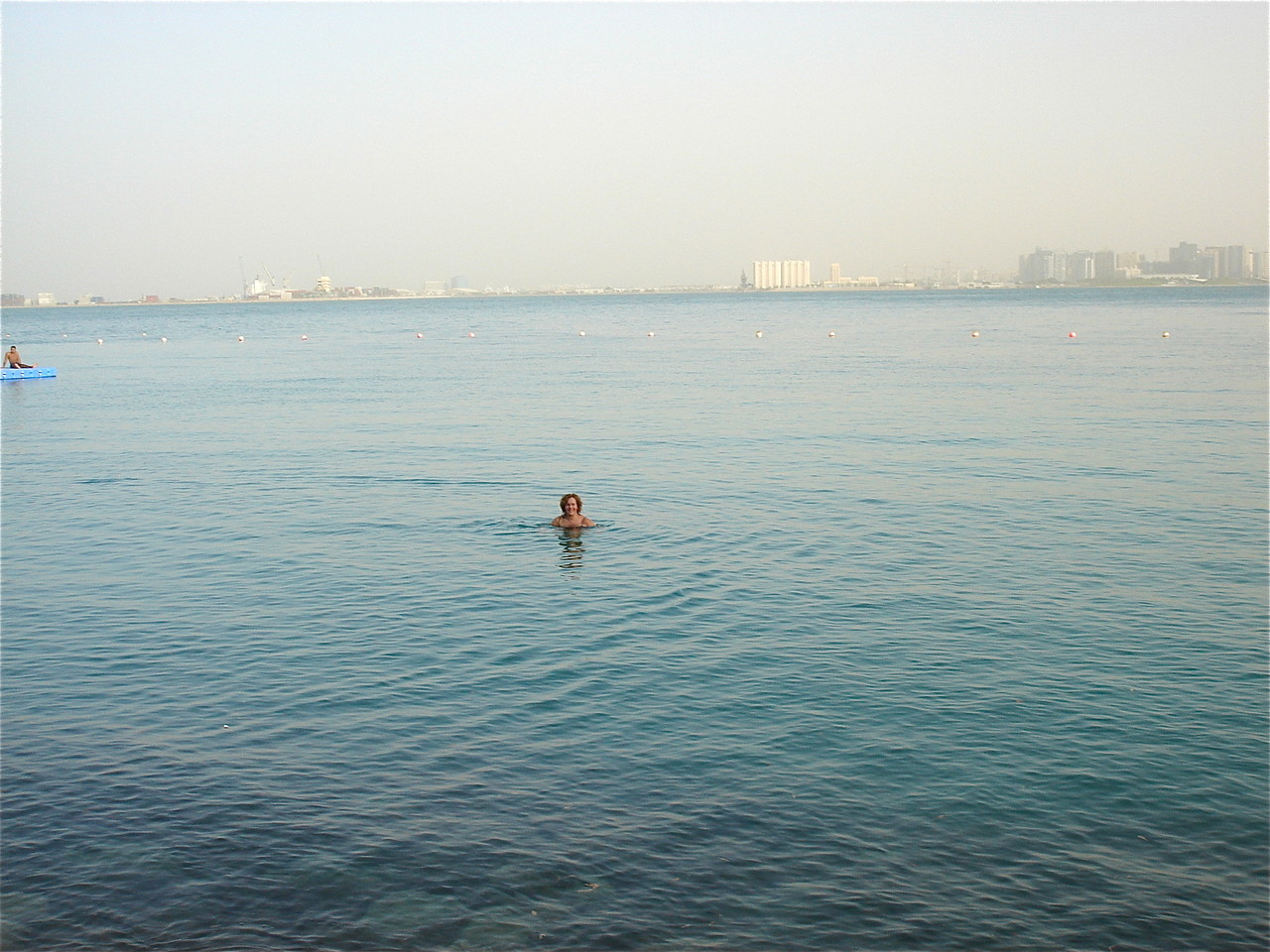 Lorraine swimming in the Persian Gulf, 29 degrees C, very salty