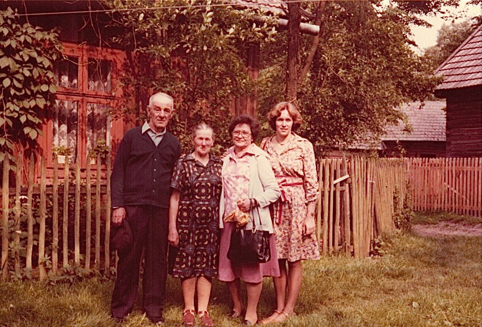 Walter & Julia Bogdan, Mayme, & Lorraine.  Walter was almost killed in 1976 when his horse reared & almost crushed him.