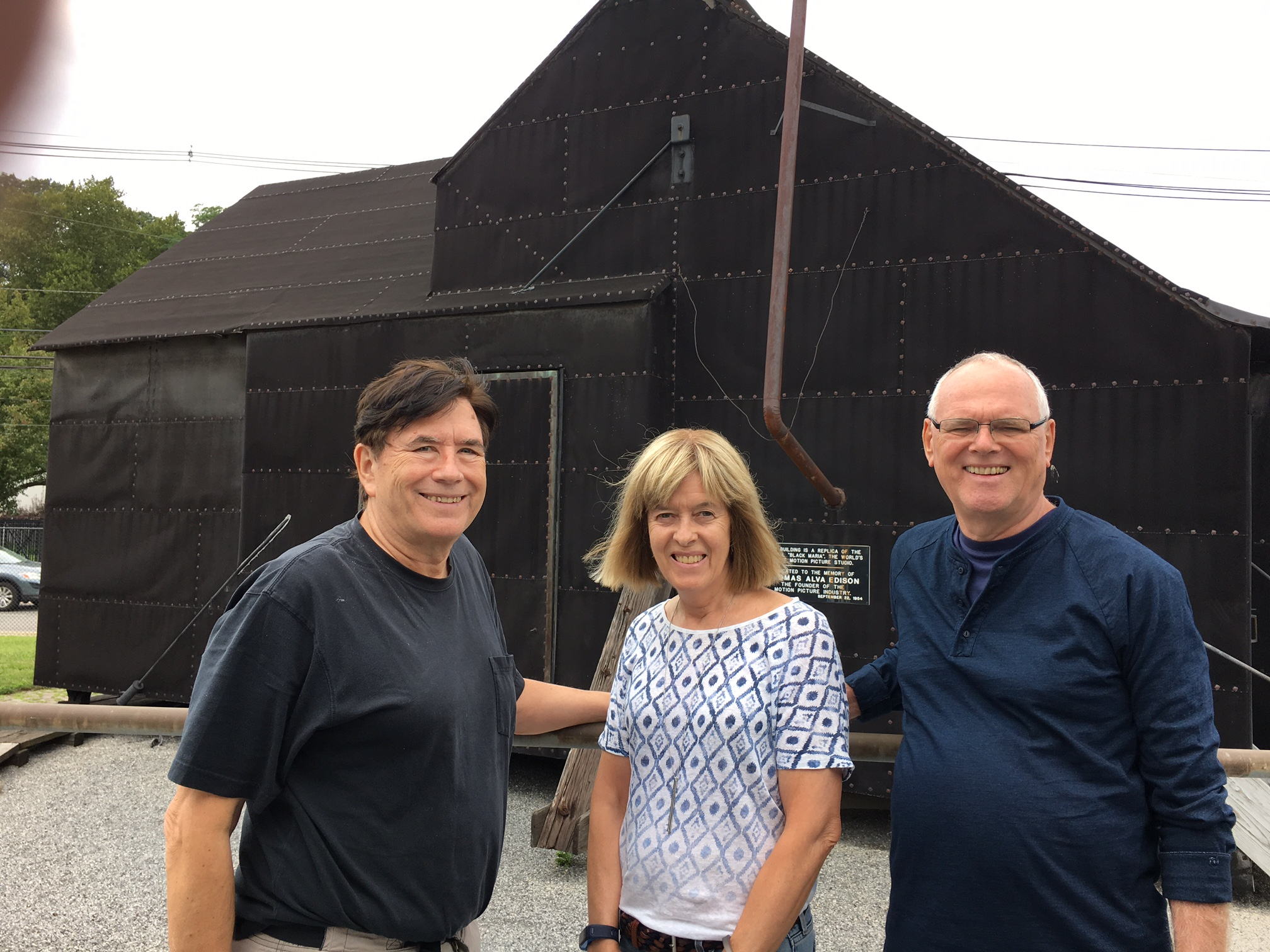John, Nancy, & Bernd in front of Black Maria, the first movie studio, at Edison's complex in NJ