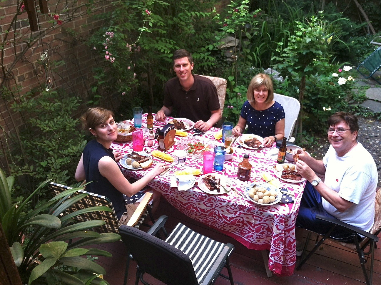 Anna Groner, Patrick, Nancy Hynes, John Wagner Barbecued Pork Ribs and Corn 6-24-14