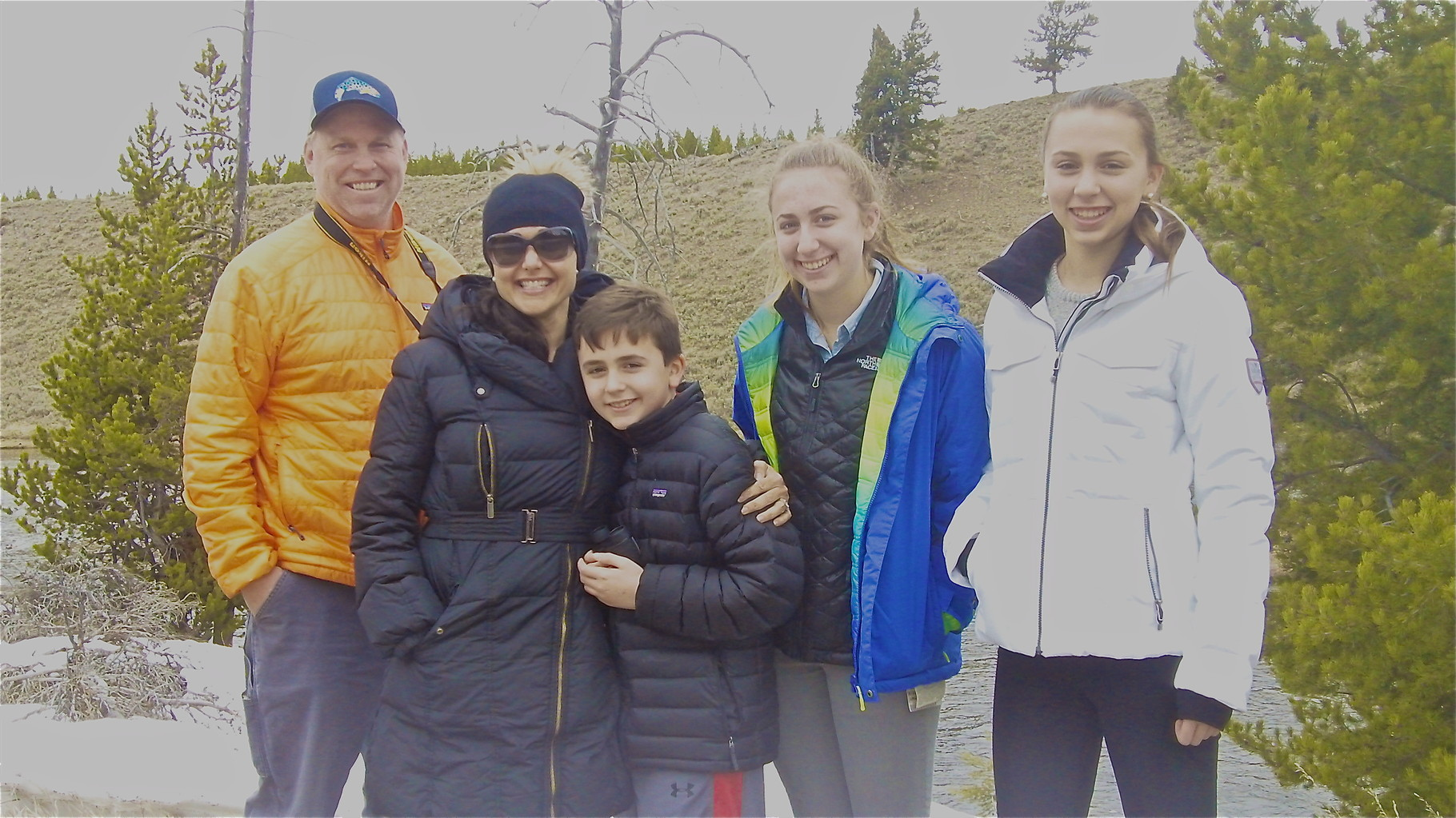 Stuart Jr., Allie, Stuart 3d, Gabby, and Emma Kagel at Yellowstone