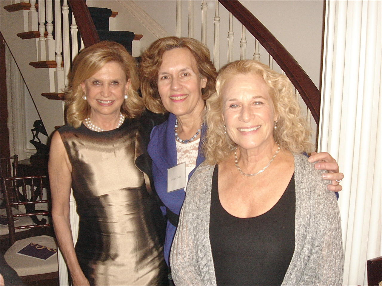 US Rep. Carolyn Maloney, Lorraine Gudas, & Carole King at a fall event.